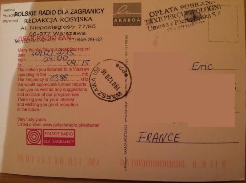 QSL de Polskie radio en MW Pol_210