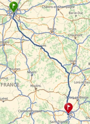 Paris (75) > Lyon (69) une fois par mois (train) + frais Captur75