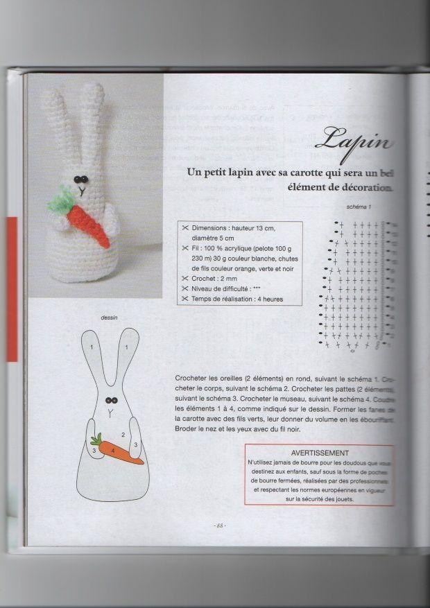 Doudou lapin au crochet avec carotte Lapin110