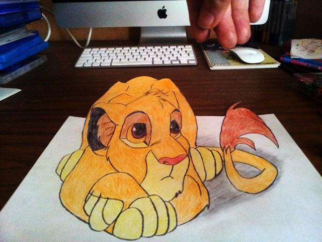 Crayon De Couleur Essai Trompe L Oeil Le Roi Lion