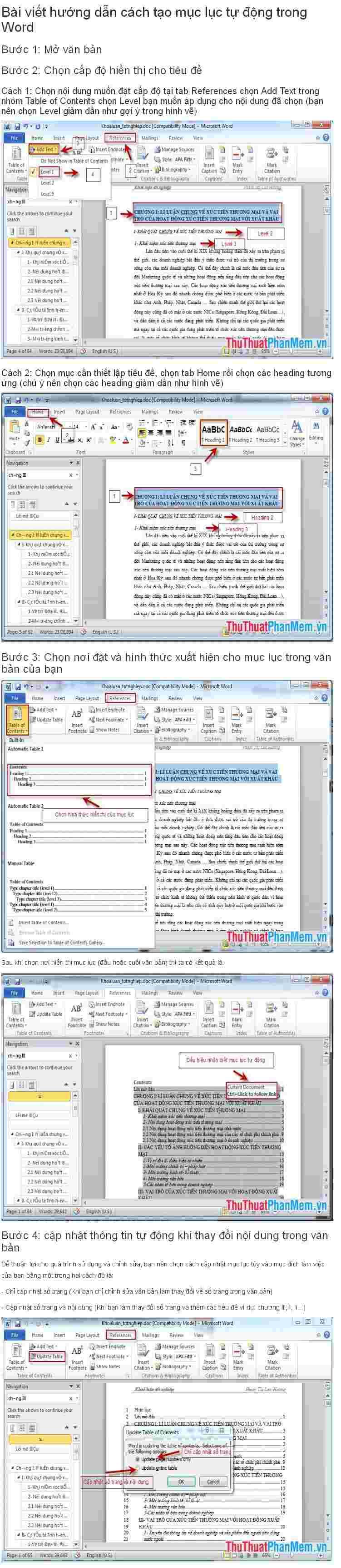 Hướng dẫn tạo mục lục tự động trong Word Firesh15