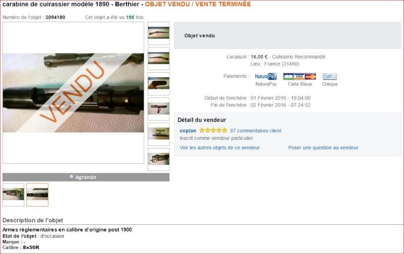 Mousqueton Berthier de Cuirassier à vendre Vendue11