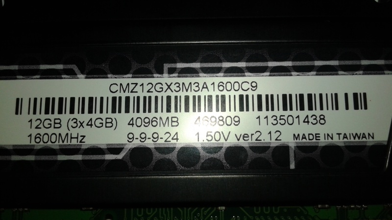 Mémoire DDR3 3x4GB Corsair Vengeance 1600Mhz a vendre Corsai11