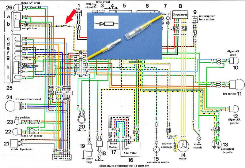 Emplacement de la diode cable du compte tour New210