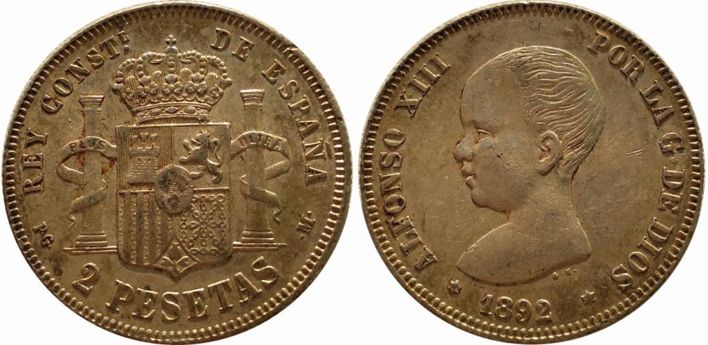 2 pesetas 1892. Alfonso XIII 2p_18910