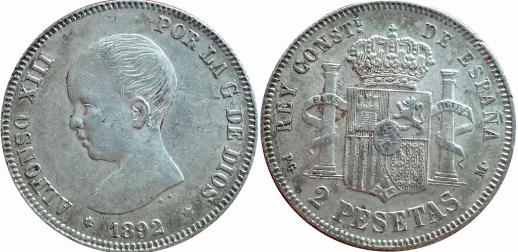 2 pesetas 1892. Alfonso XIII 2p_18911