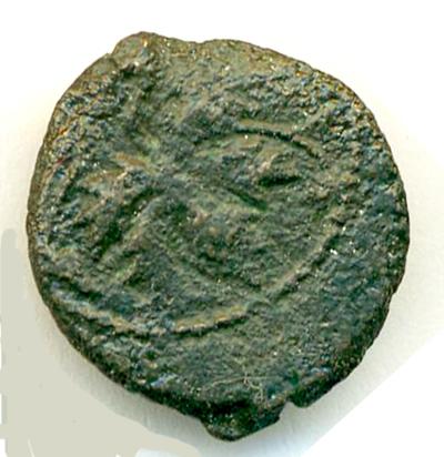 Prutah (leptón, AE 15) de Valerio Grato (bajo Tiberio). Judea Valeri10