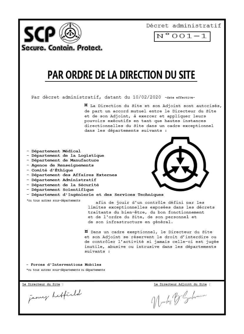Décret Administratif - Section 001 - Ordre Directionnel 15815310