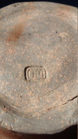 Large Raku? Bowl with OM or WO mark dark brown glaze 20190122