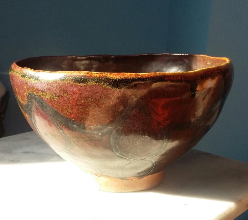 Large Raku? Bowl with OM or WO mark dark brown glaze 20190123