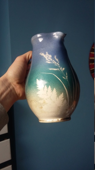 Handsigned 1990s jug with graduated blue to sandy glaze imprinted plants 20190310