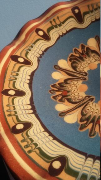 1950s? Terracotta pedestal dish frilled edge - Troyan Slipware  20190317