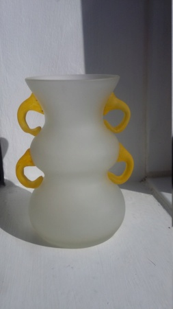 Frosted White Vase with applied Yellow Handles 20190410