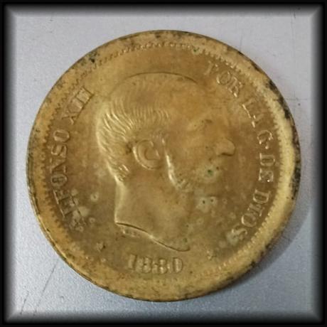 50 centavos de peso 1880. Alfonso XII. Prueba en Latón, Estado Español 108a_a11