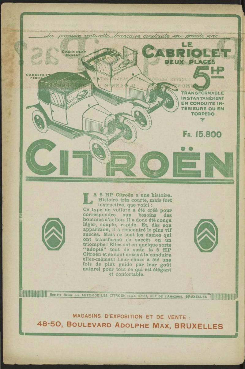Publicités de CITROËN 5 HP Pourqu10