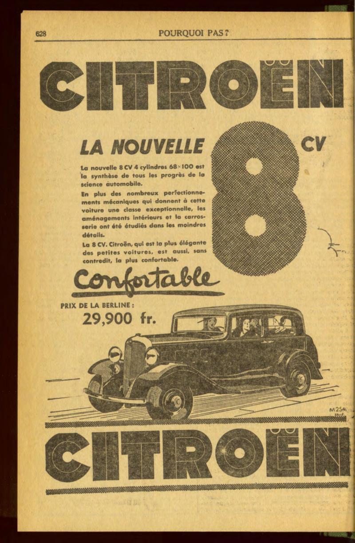 Publicités de CITROËN 8, 10 et 15 CV Pourqu11