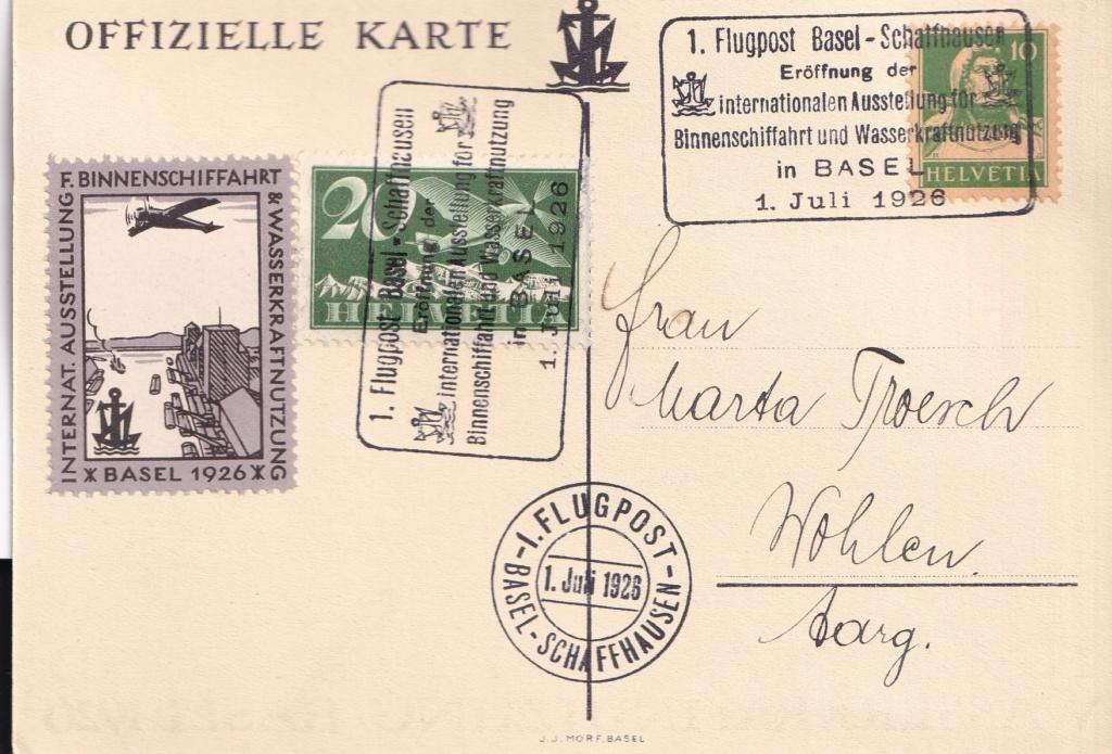 1. Flugpost Basel - Schaffhausen 1926 Schwei13