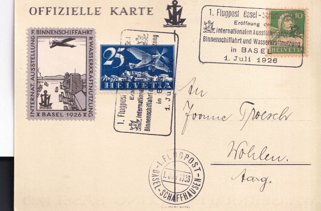 1. Flugpost Basel - Schaffhausen 1926 Schwei14