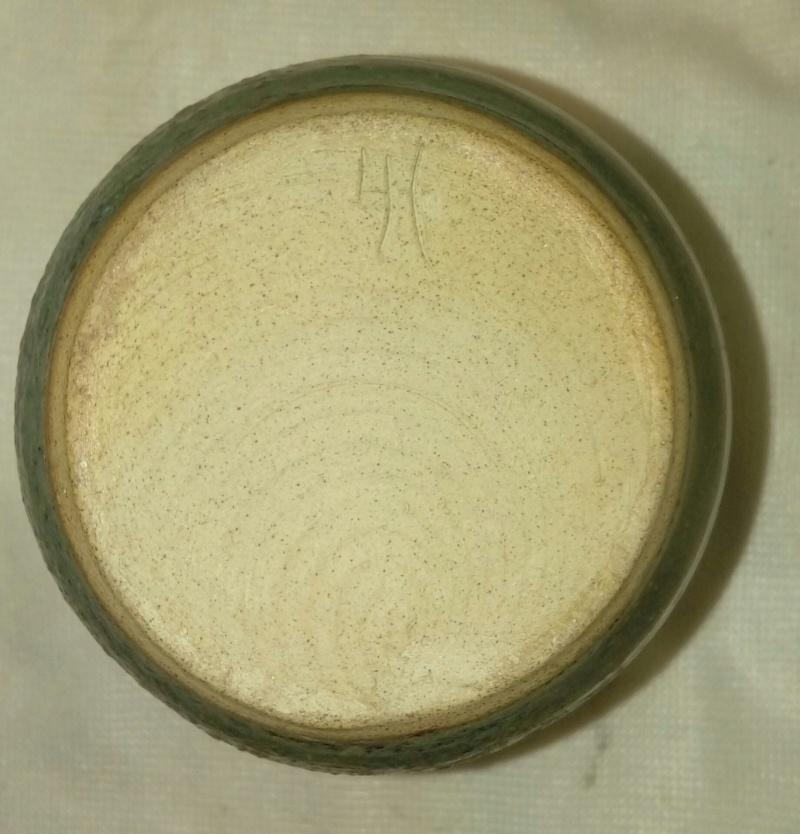 Green, textured glaze pot, incised poss. IA. 20200332