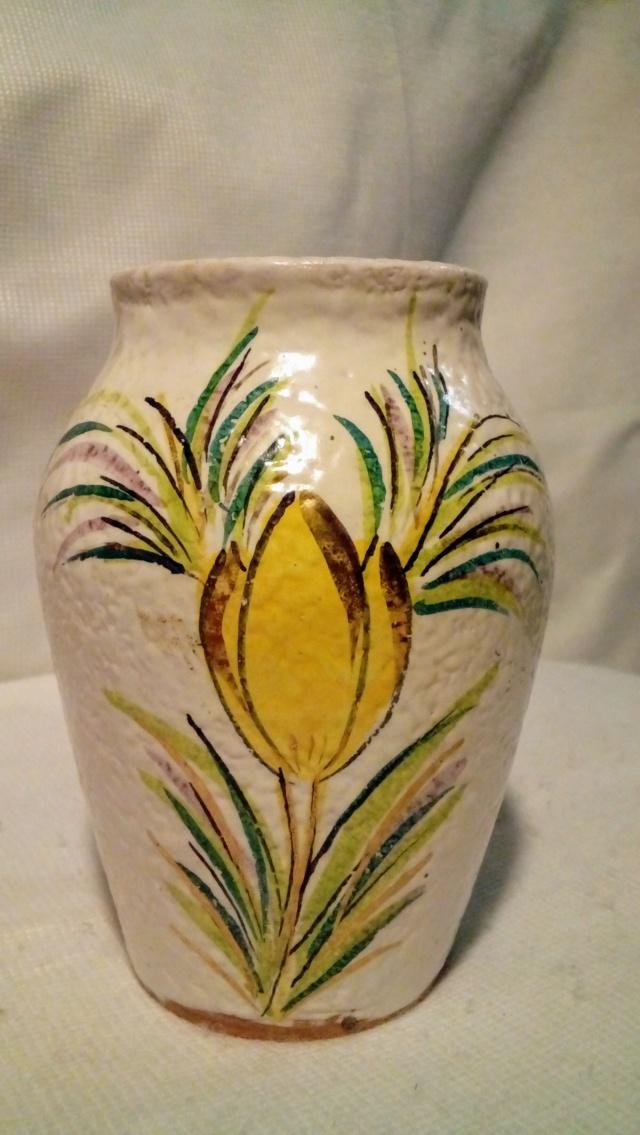 Italian Textured-glaze, Enamelled Vase. 20200406