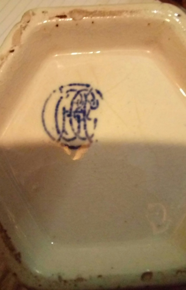 Blue/White Hexagonal Jug, Complex Backstamp. 20200834