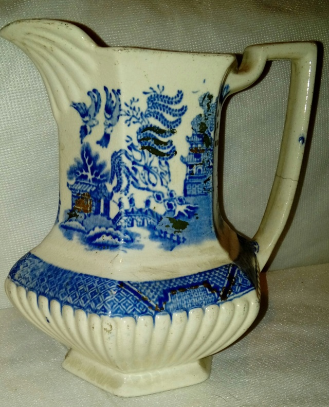 Blue/White Hexagonal Jug, Complex Backstamp. 20200835