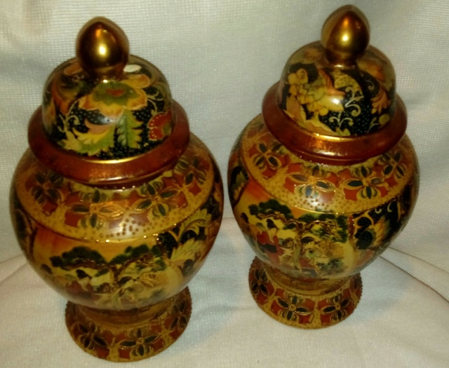 Pair of Chinese Satsuma style Ginger Jars and Larger Jar & Cover 20200856