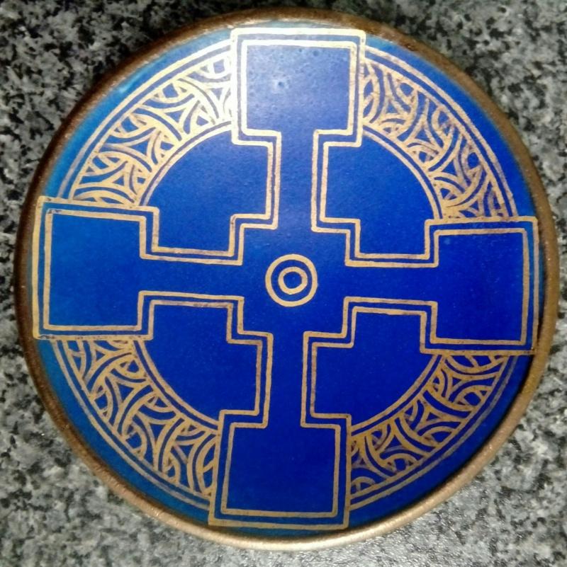 Beautifully Gilded Blue Dish, Mark Poss. Incorporates 'PS' 20210418