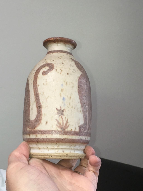 Stoneware (sgraffito?) Cat and Mouse Vase Img_8921