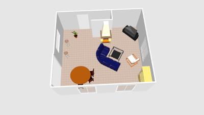 Entrée directe dans le salon-salle à manger Vue_3d10