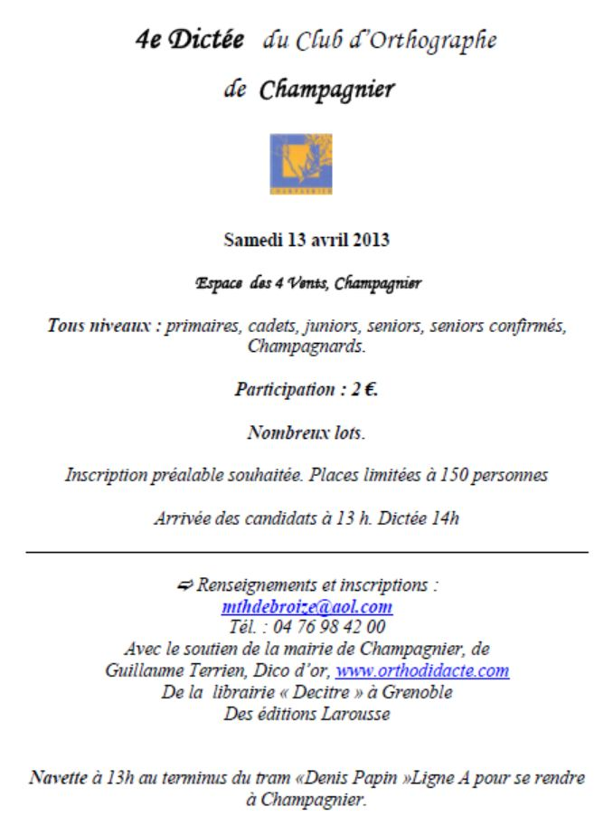 Concours de dictée à Champagnier !!! Concou10