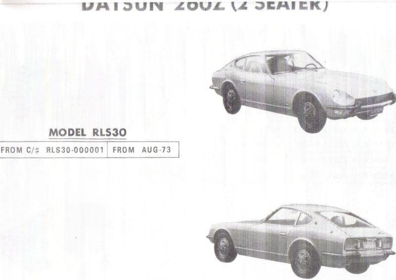 IDENTIFICATION CHASSIS 240Z & 260Z Identi11