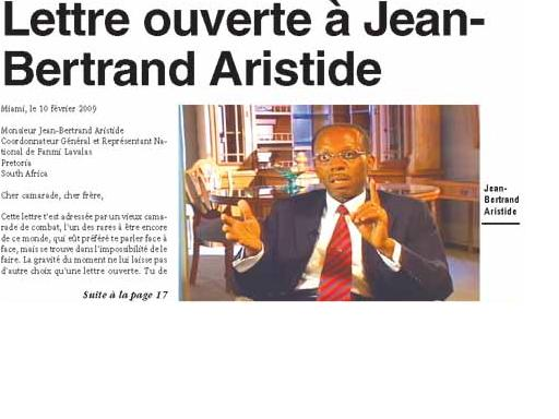 Haiti-Progres: Lettre ouverte a Jean-Bertrand Aristide Lettre10