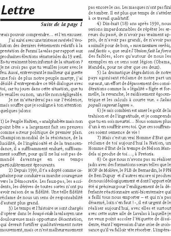 Haiti-Progres: Lettre ouverte a Jean-Bertrand Aristide Lettre11