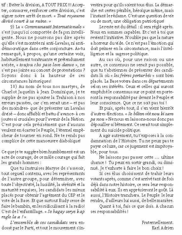 Haiti-Progres: Lettre ouverte a Jean-Bertrand Aristide Lettre12