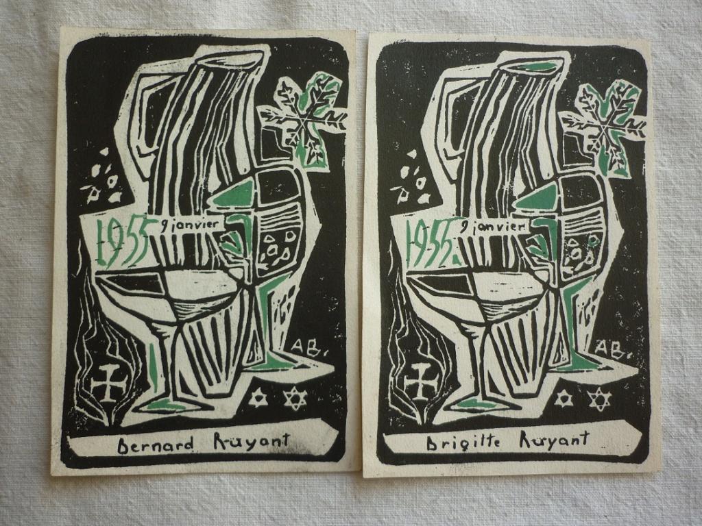 menus 1955 dessin moderniste signé P2220611