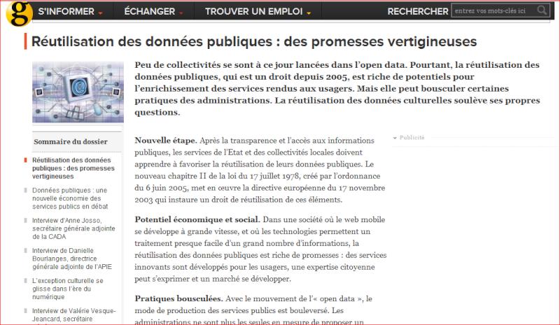 LA RÉUTILISATION DES DONNÉES PUBLIQUES (Dossier) Captur10