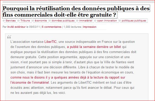 LA RÉUTILISATION DES DONNÉES PUBLIQUES (Dossier) Captur13