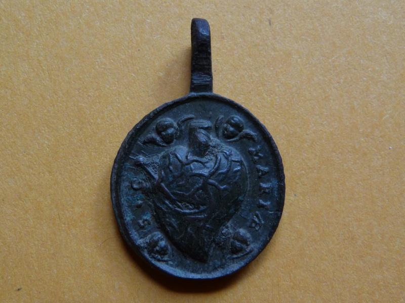 Médaille Sacré-Coeur de Jésus & Marie XVIIIe siècle Med_re15