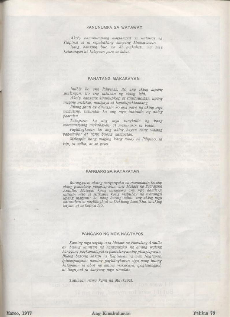 """ANG KINABUKASAN"" – ARAULLO HIGH SCHOOL BATCH 1977 YEARBOOK Ang_ki31"