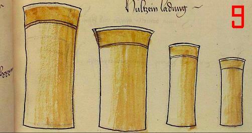 dosettes en bois pour la poudre des arquebusiers 910