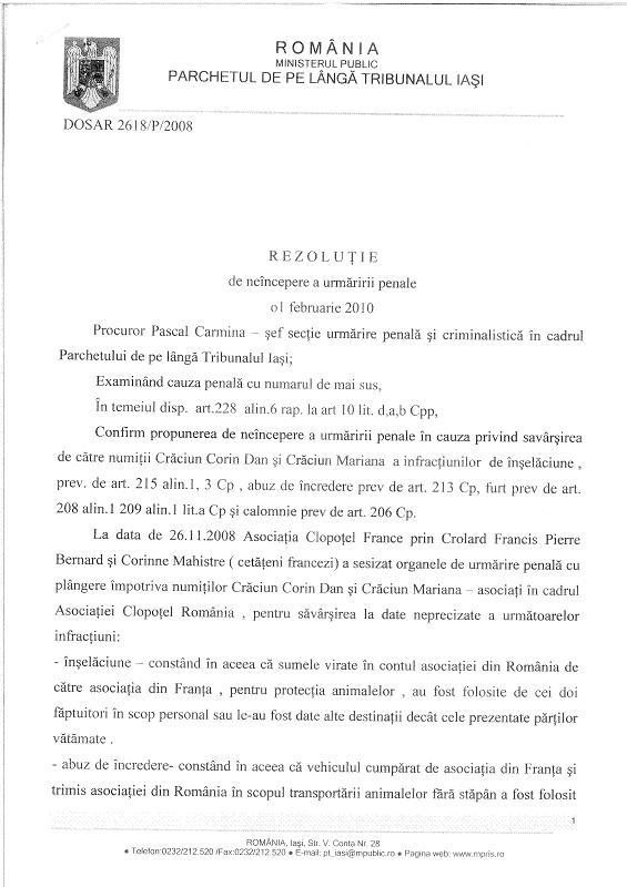 Décision du Parquet de Iasi suite à notre plainte contre Craciun Rezolu10