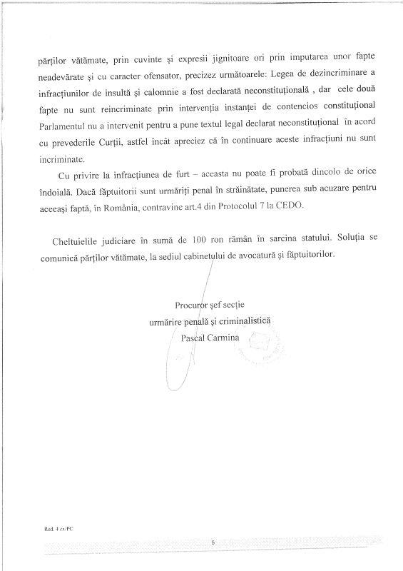 Décision du Parquet de Iasi suite à notre plainte contre Craciun Rezolu14