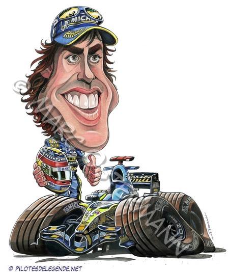 Caricature de pilote. Photos de sport auto. Alonso10