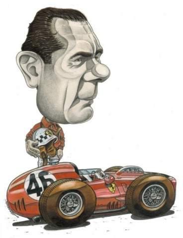 Caricature de pilote. Photos de sport auto. Behra210