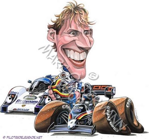 Caricature de pilote. Photos de sport auto. Bellof10