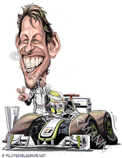 Caricature de pilote. Photos de sport auto. Button11