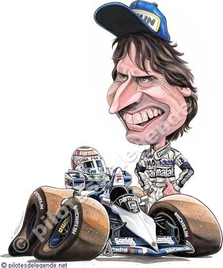Caricature de pilote. Photos de sport auto. Piquet12