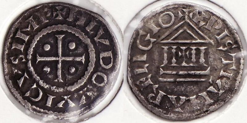 """Denier au temple de LOUIS 1er """"le pieux"""" - carolingien [WM n° 8687] Royale10"""
