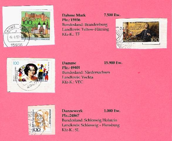 Aus meiner Stempelsammlung deutscher Postorte - A-D Deutsc28